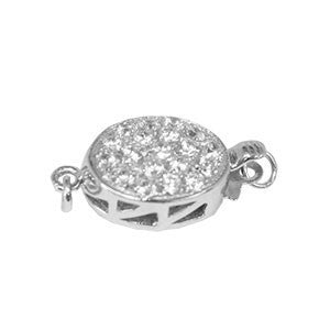 Flat Oval Clasp with Cubic Zirconia