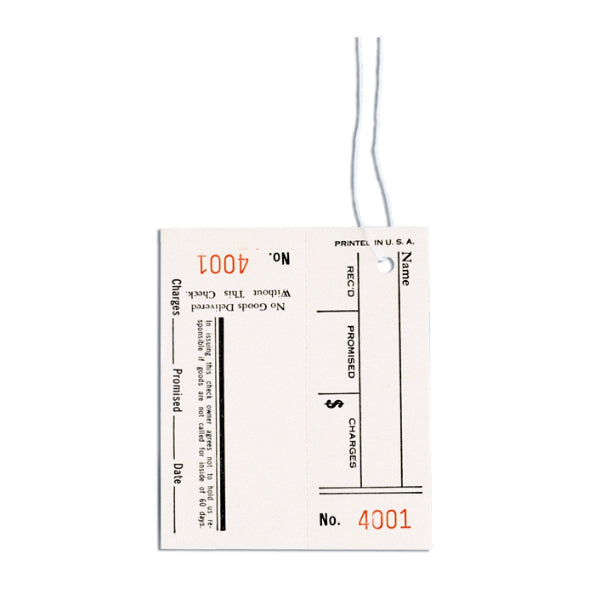 Printed Tags with Claim Checks - No. 1001 to 2000