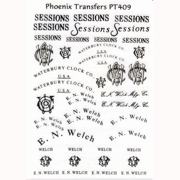 Sessions, Waterbury, Welch Glass Transfer