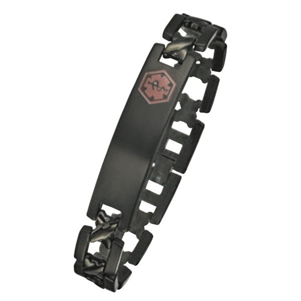 black plated medical id bracelet