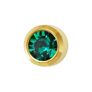 May Emerald Studs in Bezel Setting - card of 12 pairs
