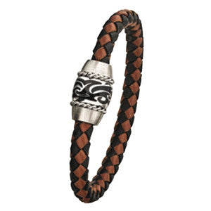 LB710 Steel and Leather Bracelet with Magnetic Clasp