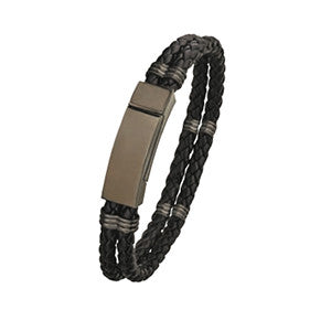 LB711 Steel and Leather Bracelet with Magnetic Clasp