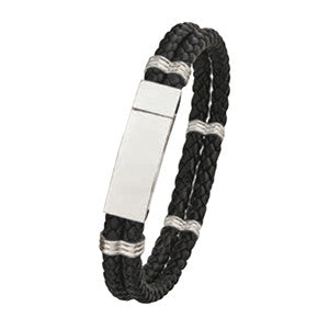 LB712 Steel and Leather Bracelet with Magnetic Clasp