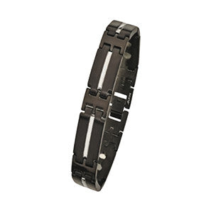 MBB680 Black Plated 12mm Steel Magnetic Bracelet