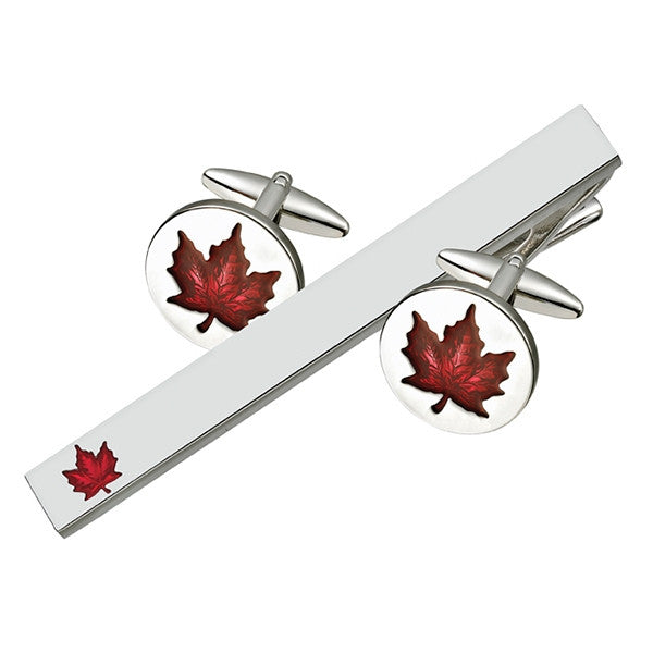 Red Maple Leaf Cufflink Tie Bar Set