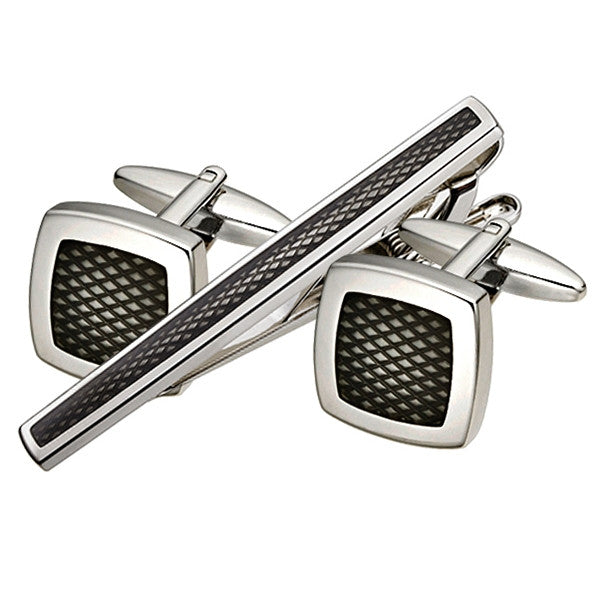 Carbon Fibre Cufflink Tie Bar Set (9318952516)