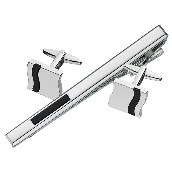 Cuff Link Tie Bar Set with Black Detail SCT31