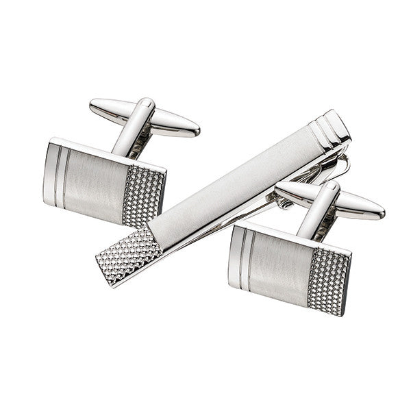 Patterned Cuff Link Tie Bar Set SCT32