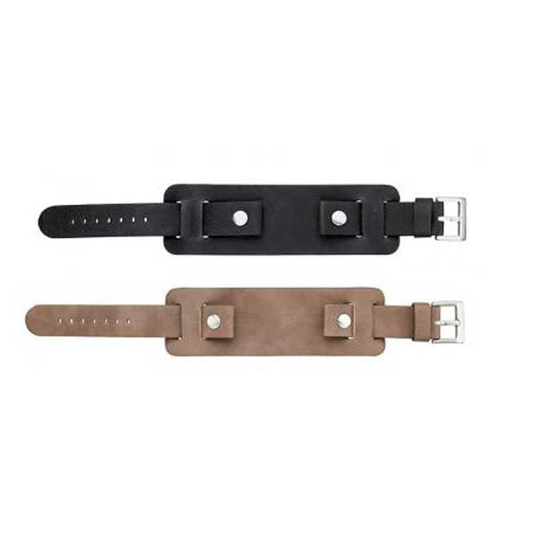 Flat Thick Leather Cuff Watch Band