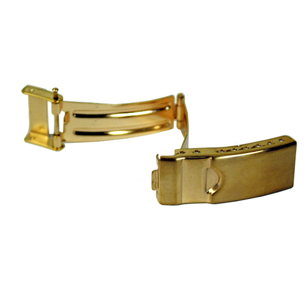 Yellow Plated 3 Fold Buckles with Safety (Divers Foldover with Safety)