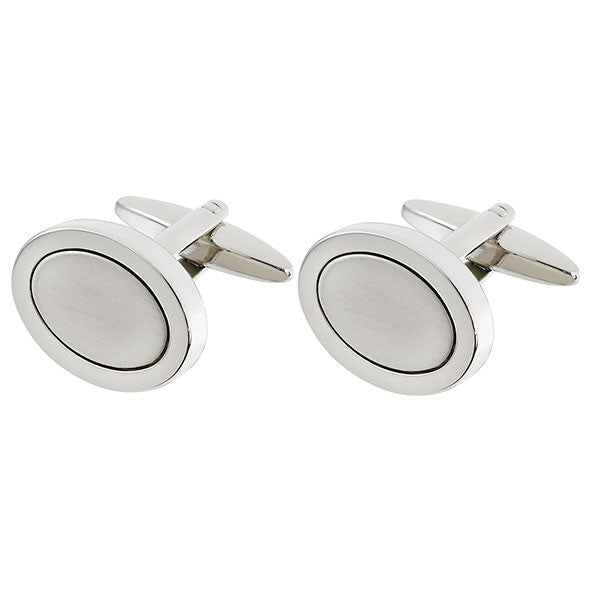 Oval Cufflink with Brushed Center (9318924228)