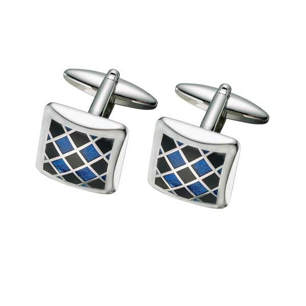 SC69 Blue Patterned Cufflink