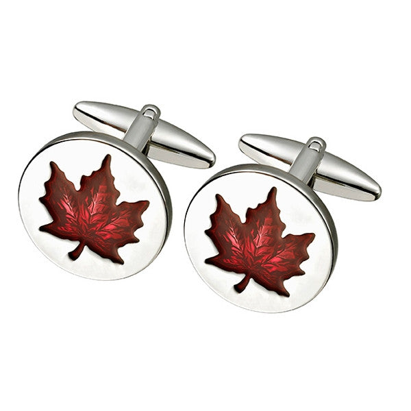 Red Maple Leaf Cufflink