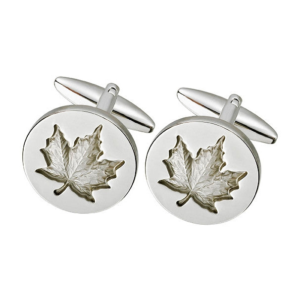 Silver Maple Leaf Cufflink