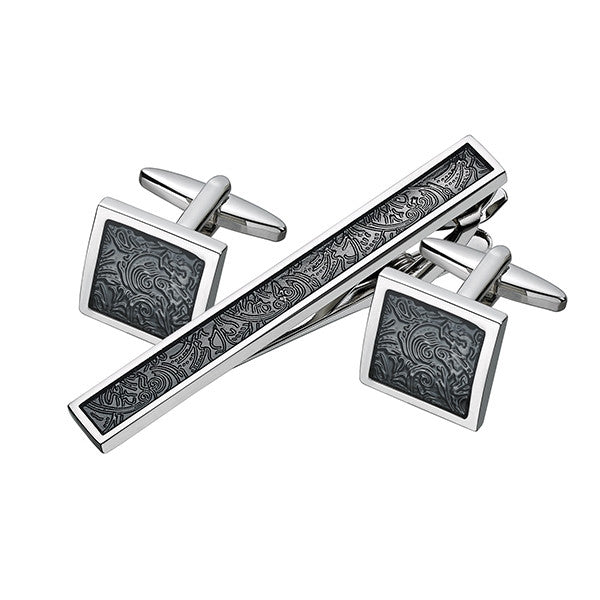 Black Patterned Cufflink Tie Bar Set