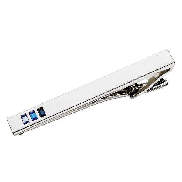Polished Steel with 3 Coloured Crytals Tie Bar (9318978180)