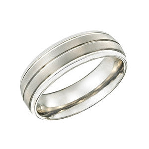 Silver Striped Tungsten Ring TUR29