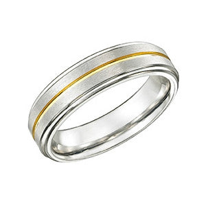 Yellow Striped Tungsten Ring TUR30