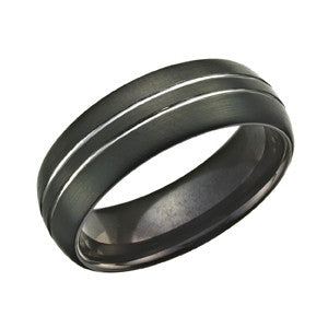 Black Silver Striped Tungsten Ring TUR35