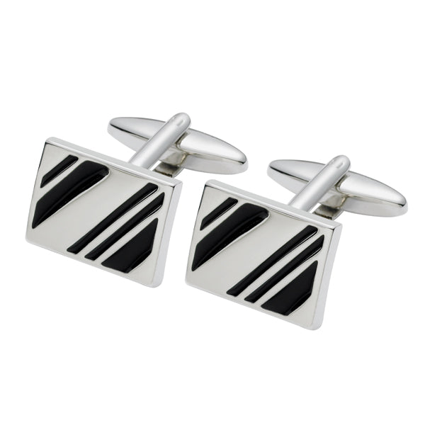 Black Diagonal Cufflinks