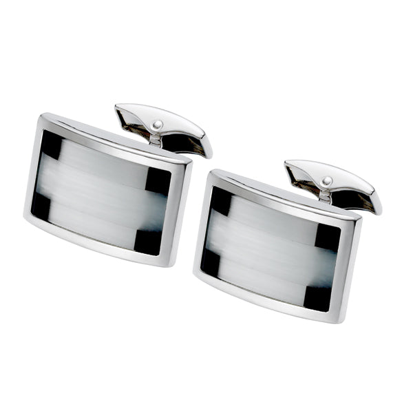 Black Onyx, Fibre Optic Glass Cufflink