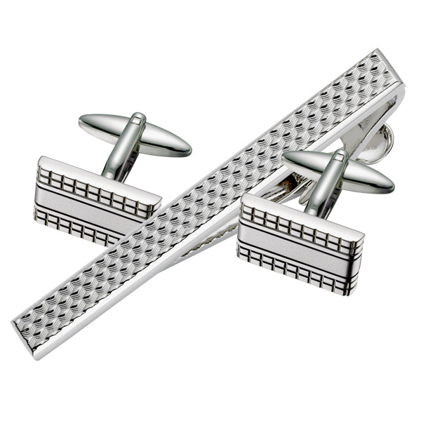 Rectangular Patterned Cufflink & Tie Bar Set