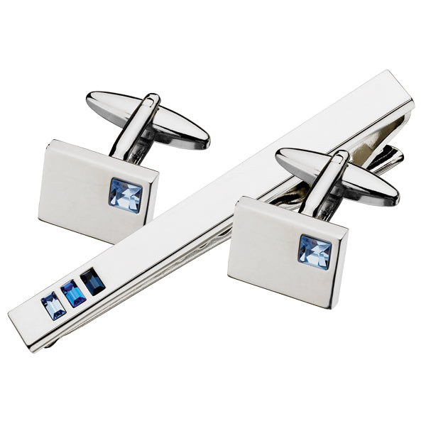 Austrian Crystal Cufflinks & Tie Bar Set (9318949700)