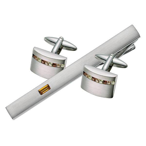 Golden Austrian Crystal Cufflink & Tie Bar Set