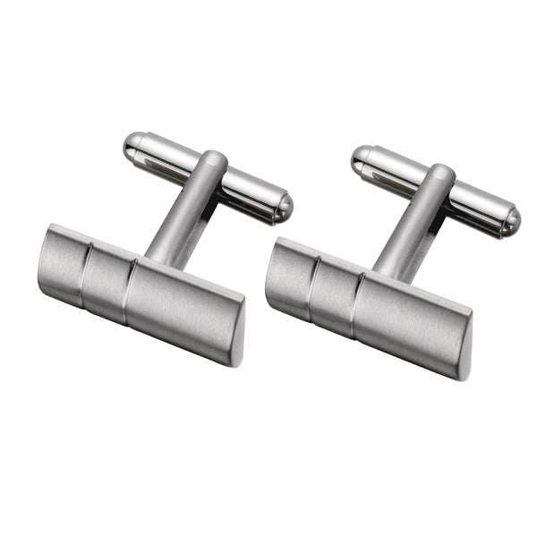 Simple Two-lined Titanium Cufflinks (9318987204)
