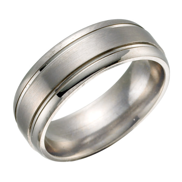 Double Grooved Titanium Ring