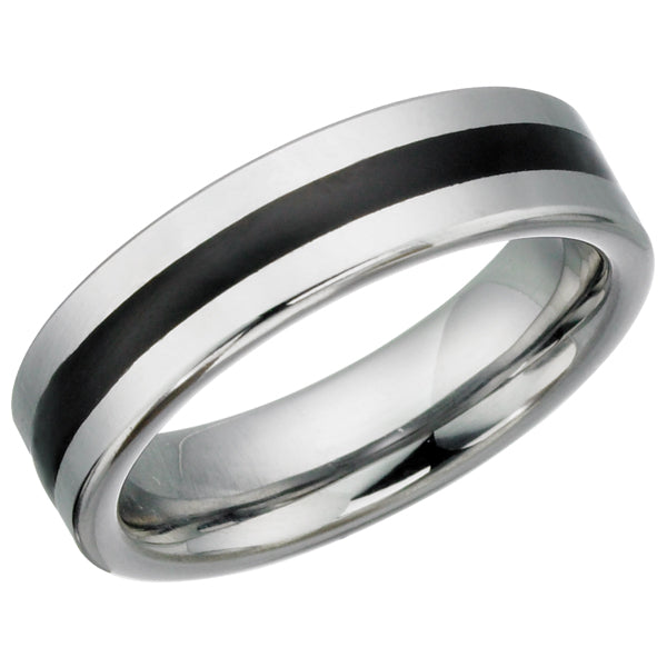 Black Striped Tungsten Ring TUR15
