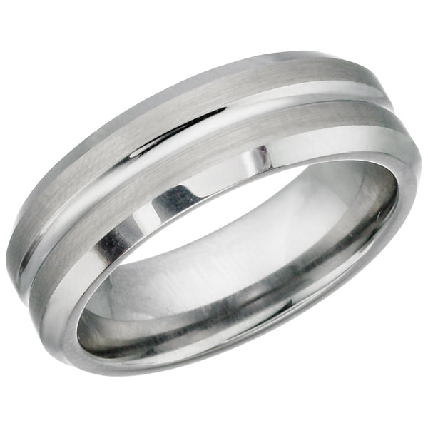 Brushed Center Polished Tungsten Ring TUR17