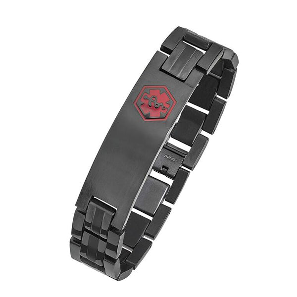 TB910MED Black Plated Steel Medical Id Bracelet