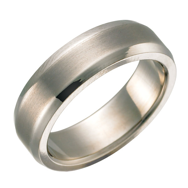 Brushed Beveled Titanium Ring TR3