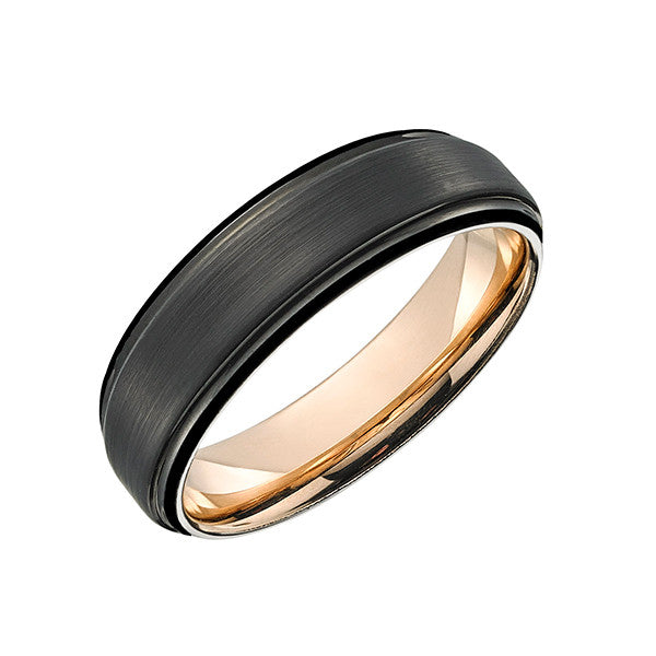 Black and Rose Gold Plated TUR38 Tungsten