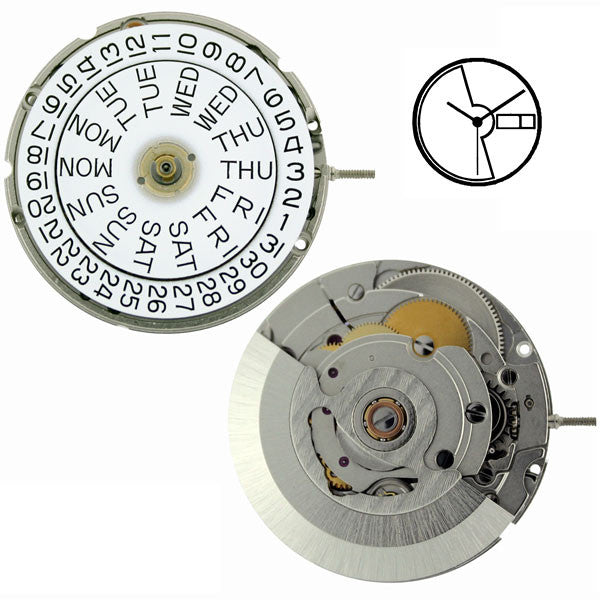 ETA 2836-2 Automatic with Day Date Watch Movement