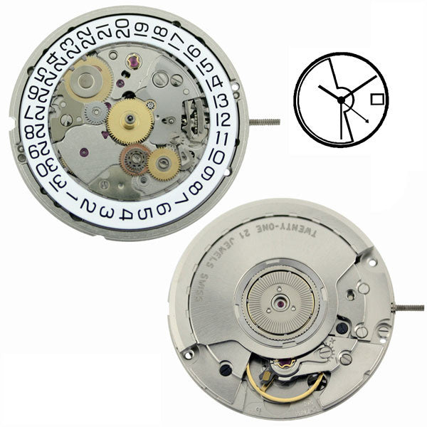 ETA 2893-2  Automatic 24HR with Date Watch Movement (9346040324)