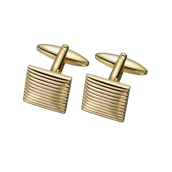Yellow Ridged Cufflinks