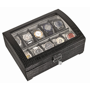 Large Black Leatherette Watch Box WB-310 (1535893438498)