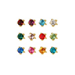 2 mm Mini Tiffany Birthstone Stud Assortment