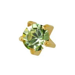3 mm August Peridot Studs in Tiffany Setting - card of 12 pairs
