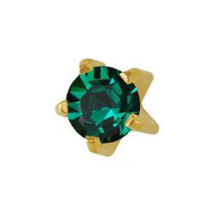 3 mm May Emerald Studs in Tiffany Setting - card of 12 pairs