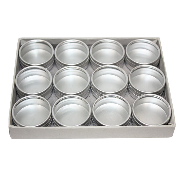 Round Aluminum Tins with Glass Top - 30mm x 15mm