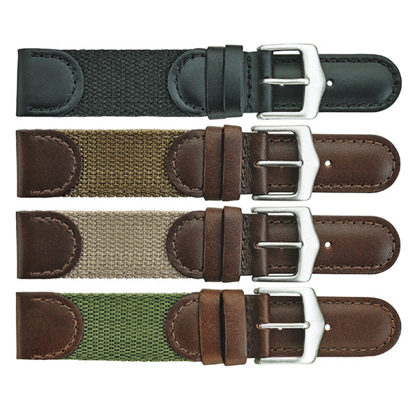 380 Stitched Leather and Fabric Watch Strap
