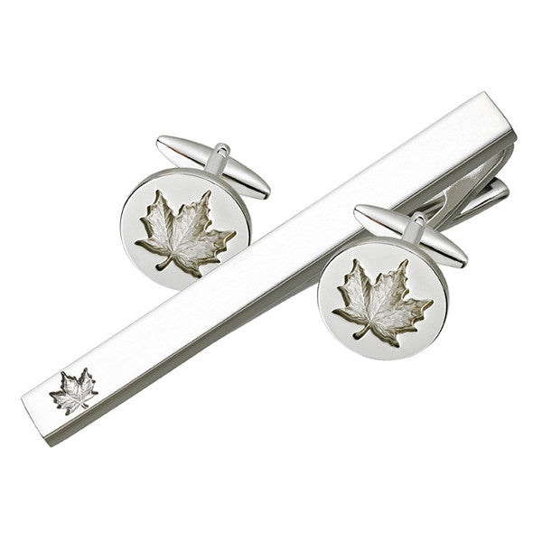 Maple Leaf Cufflink Tie Bar Set