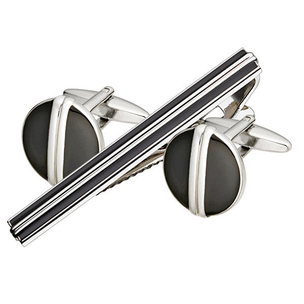 Black Enamel Cufflink Tie Bar Set