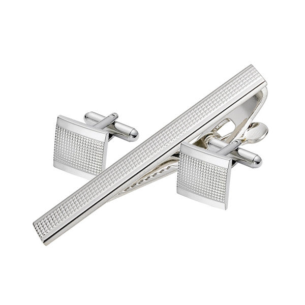 Diamond Design Cufflink Tie Bar Set