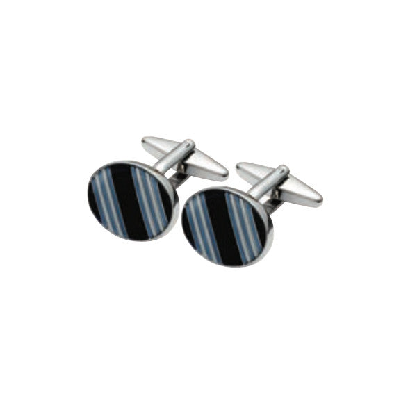 Black and Blue Oval Cufflink SC30 (11627897679)