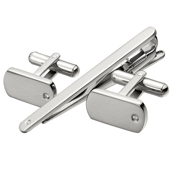 Cubic Zirconia Cufflink Tie Bar Set